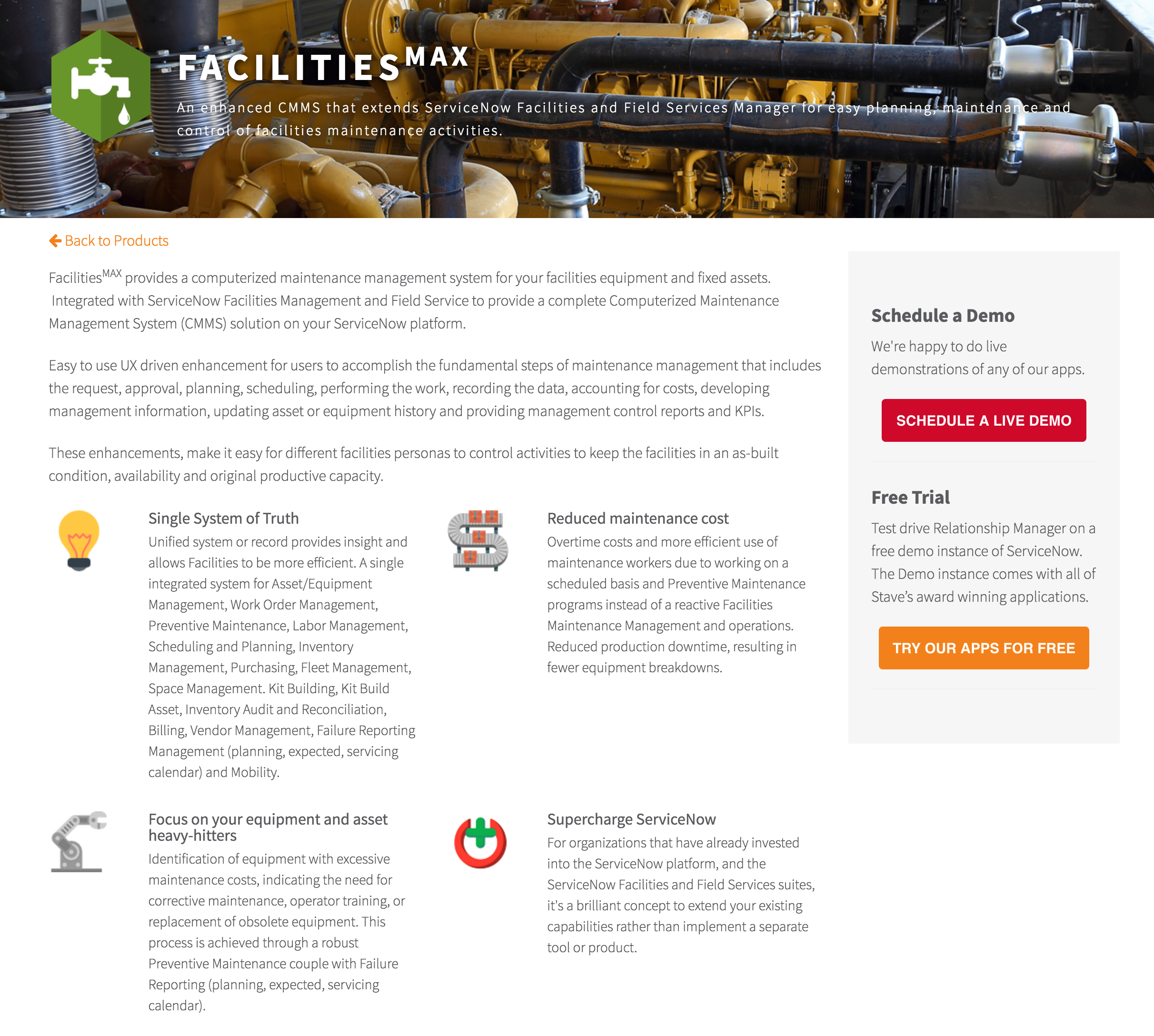 Stave FacilitiesMAX features page