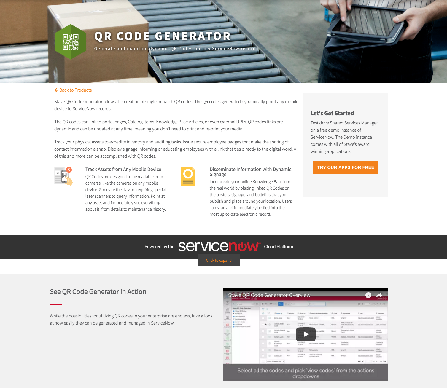 Stave QR Code Generator Product Page