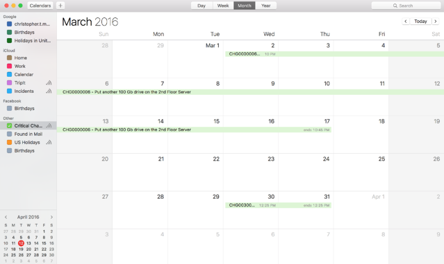Stave Calendars displayed on an Apple Calendar
